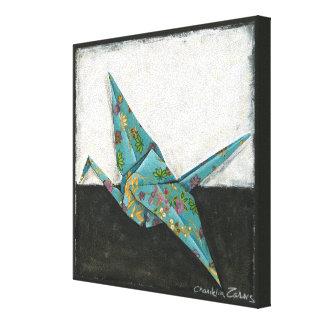 Origami Kran mit Blumenmustern Leinwanddruck