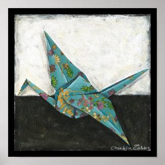 Origami Kran mit Blumenmustern Poster