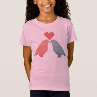 Origami Liebe-Vögel T-Shirt