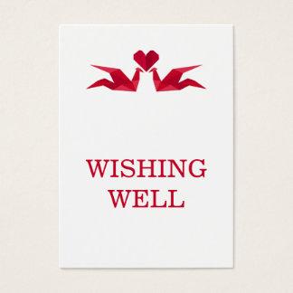 origami rote Kräne, die gut wünschen wedding sind Visitenkarte