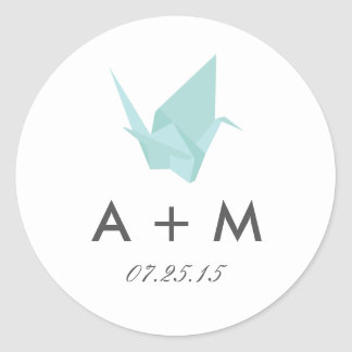 Origami streckt Hochzeits-Monogramm Runder Aufkleber