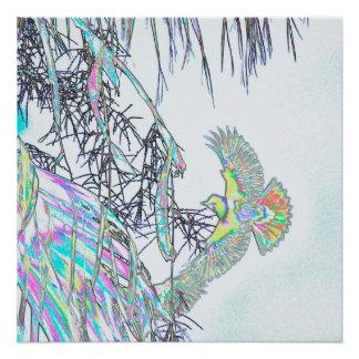 Oriole in der Palme abstrakt Poster