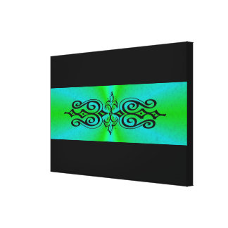 Ornament auf grün blau Regenbogen Leinwanddruck