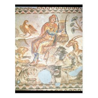 Orpheus der zu den Tieren römisches Mosaik spiel Postkarten