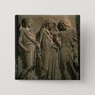 Orpheus, Eurydike und Hermes (Marmor) Quadratischer Button 5,1 Cm