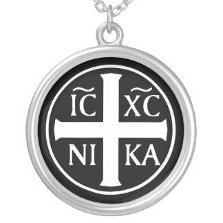 Orthodoxe religiöse Ikone ICXC NIKA Christogram Halskette Mit Rundem Anhänger