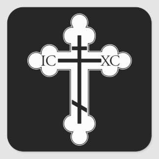 Orthodoxes Kreuz Quadratischer Aufkleber