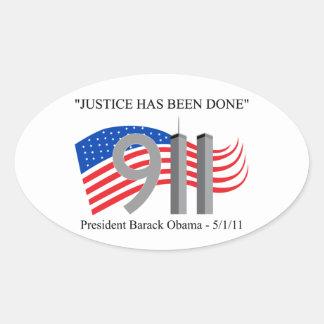 Osama bin Laden - Gerechtigkeit ist erfolgt worden Ovale Aufkleber