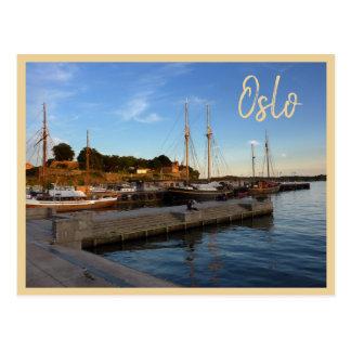 Oslo-Hafen mit Text Postkarte