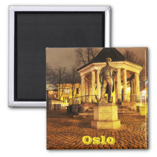 Oslo, Norwegen nachts Quadratischer Magnet