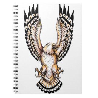Osprey, der vordere Tätowierung Swooping ist Spiral Notizblock