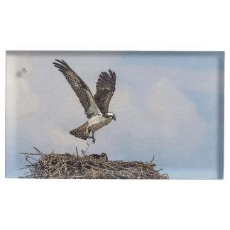 Osprey in einem Nest Tischkartenhalter