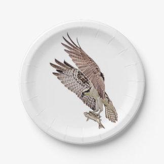 Osprey mit einem Fisch Pappteller