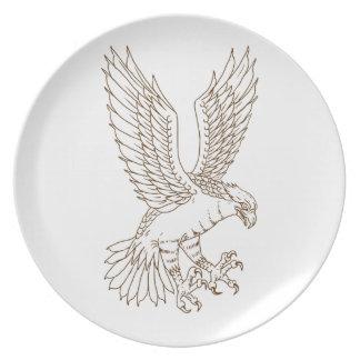 Osprey-Swooping Zeichnen Melaminteller