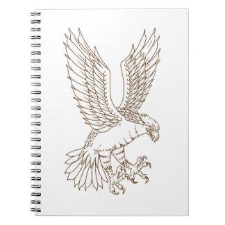 Osprey-Swooping Zeichnen Spiral Notizblock