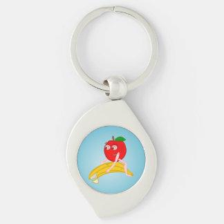 Osteopath-Frucht lustiges Apple, das eine Banane Schlüsselanhänger