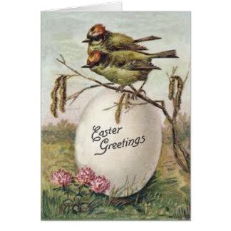 Osterei-Blumen-Vogel Grußkarte