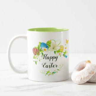 Osterei-Frühlings-Blumenund SchmetterlingeWreath Zweifarbige Tasse