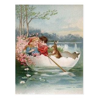 Osterei-Häschen-Boots-junge Paar-Landschaft Postkarte