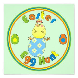 Osterei-Jagd-Henne auf blauen Ei-Party Einladungen