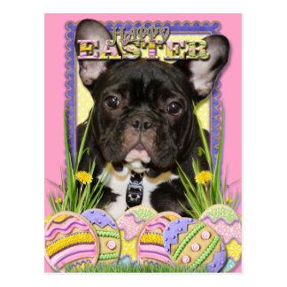 Osterei-Plätzchen - französische Bulldogge Postkarte