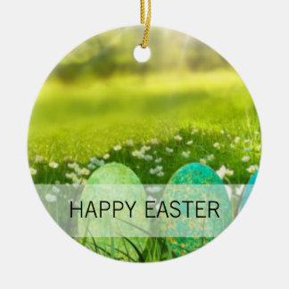 Ostereier in den Frühlings-Grüntönen und den Blues Rundes Keramik Ornament