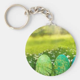 Ostereier in den Frühlings-Grüntönen und den Blues Schlüsselanhänger