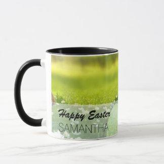 Ostereier in den Frühlings-Grüntönen und den Blues Tasse