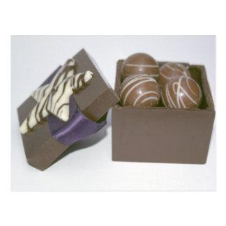 Ostereier in einem Schokoladenkasten Postkarte