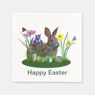 Osterhase, Eier und Frühlings-Blumen Servietten