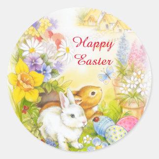 Osterhase glücklicher Ostern-Aufkleber Runder Aufkleber