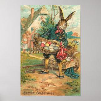 Osterhase mit Eiern für die Kinder Vintag Poster