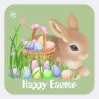 Osterhase und Eier Feiertags-Partyaufkleber Quadratischer Aufkleber