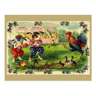 Osterhasen-Baseball-Vintage Postkarte