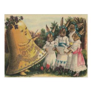 Osterhasen-Bell-Lilien-Gänseblümchen-Chor Postkarte