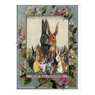 Osterhasen-Familien-Porträt Postkarte
