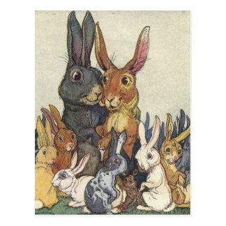 Osterhasen-Familien-Postkarte Postkarte