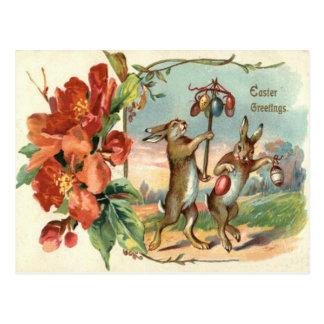Osterhasen-farbige Ei-Rot-Blume Postkarte