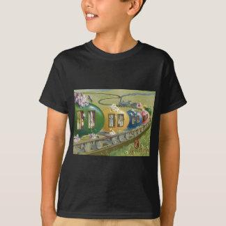 Osterhasen-farbiger Ei-Käfig-Zug T-Shirt