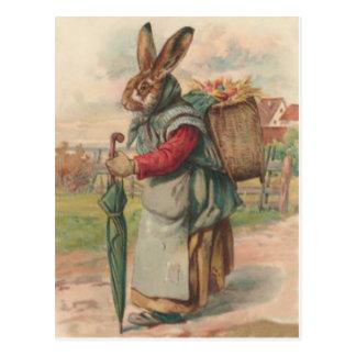 Osterhasen-farbiger gemalter Ei-Regenschirm Postkarte