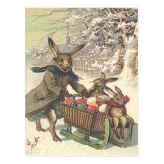 Osterhasen-farbiger gemalter Ei-Schlitten-Schnee Postkarte