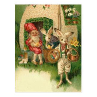 Osterhasen-gemalter farbiger Ei-BlumeGnome Postkarte