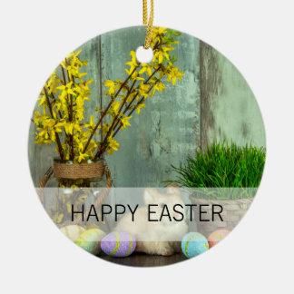 Osterhasen-und Ei-Szene Keramik Ornament
