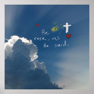 Ostern-Auferstehung ist er gestiegene Jesus-Rose Poster