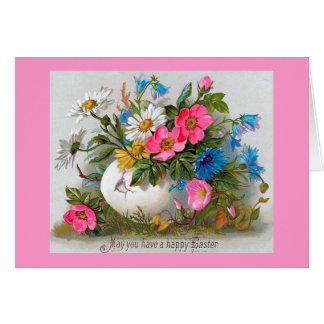 Ostern-Blumenstrauß-Vintage Blumen Karte