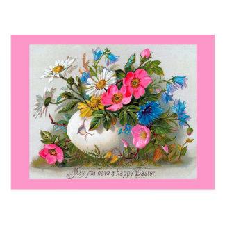 Ostern-Blumenstrauß-Vintage Blumen Postkarte