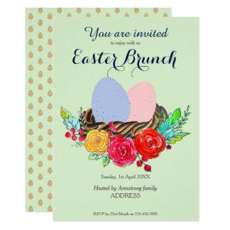 Ostern-Brunch-Eier im Nest im BlumenAquarell Karte