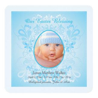 Ostern, das blaue Foto-Geburts-Mitteilung segnet Quadratische 13,3 Cm Einladungskarte