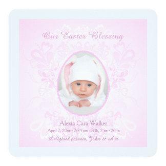 Ostern, das rosa Foto-Geburts-Mitteilung segnet Quadratische 13,3 Cm Einladungskarte