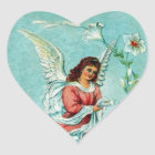 Ostern-Engel mit Blumen Herz-Aufkleber